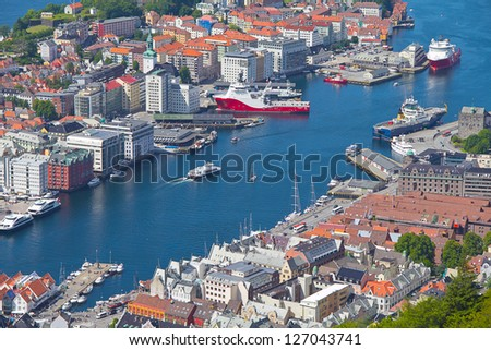 View of colorful city of Bergen, Norway - stock photo