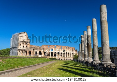 View of Colosseum from Temple of Venus and Roma - stock photo