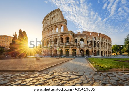 View of Colosseum in Rome and morning sun, Italy, Europe. - stock photo