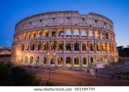 View of Colosseum is an oval in the centre of the city of Rome,