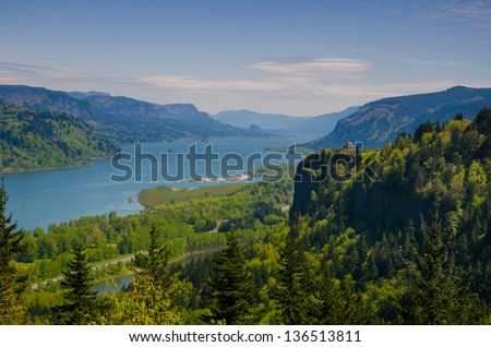View of Columbia River Gorge in northwestern Oregon - stock photo