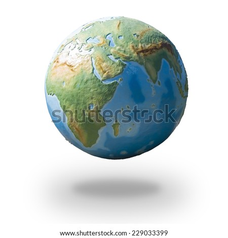 View of concrete model of Earth globe - eastern hemisphere - stock photo