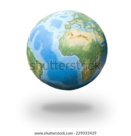 View of concrete model of Earth globe - Europe, Africa and South America - stock photo