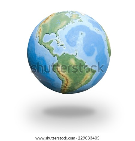 View of concrete model of Earth globe - western hemisphere