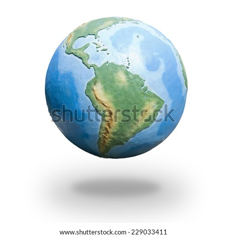 View of concrete model of Earth globe - western hemisphere - stock photo