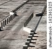 View of concrete traffic control barriers creating abstract patterns - stock photo