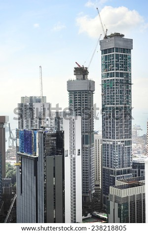 View of construction site in downtown of Singapore - stock photo