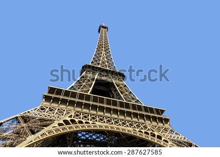 view of constructions of Eiffel Tower, Paris, France - stock photo
