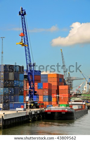 View of containers in a harbour - stock photo