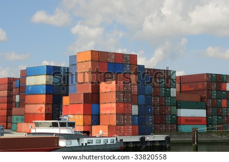 View of containters - stock photo