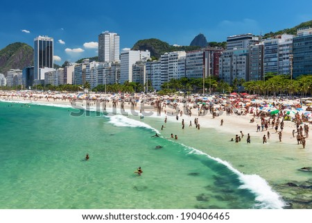 view of Copacabana beach in Rio de Janeiro, Brazil - stock photo
