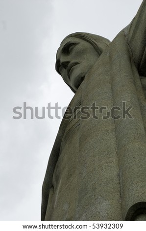 View of Corcovado in Rio de Janerio, Brazil looking up. - stock photo