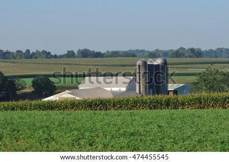 View of corn fields and farm with silo in scenic Lancaster county Pennsylvania