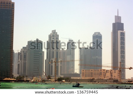 View of corporate buildings in Dubai