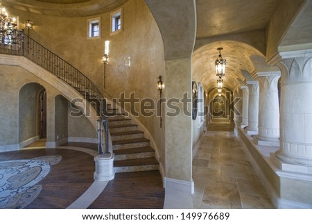 View of corridor and staircase in modern house