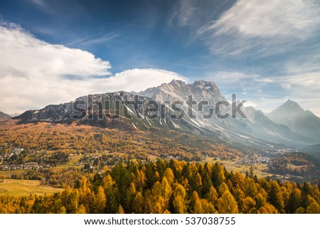 View of Cortina D�´Ampezzo alpine village, Dolomites, Italian Tirol alps.