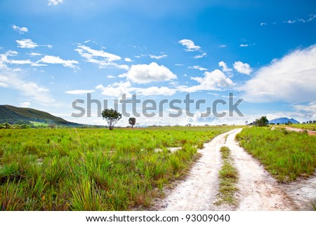 view of country road with blue sky and green meadow. Venezuela