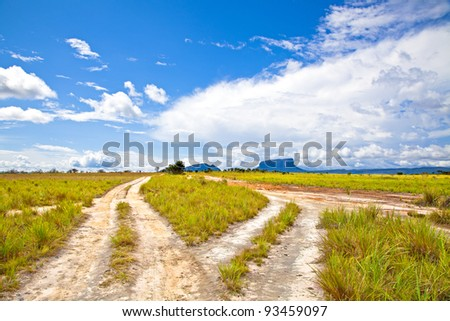 view of country road with blue sky and green meadow. Venezuela - stock photo