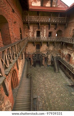 View of court at Trakai castle, Lithuania - stock photo