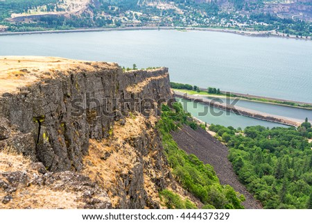 View of Coyote wall in the Columbia River Gorge on the Washington side - stock photo
