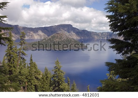 View of Crater Lake the caldera left after an ancient volcano in Oregon
