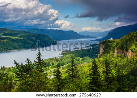 View of Crown Point and the Columbia River, Columbia River Gorge, Oregon. - stock photo