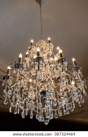 View of crystal chandelier - stock photo