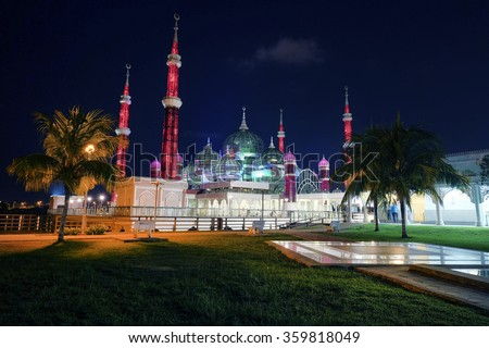 view of crystal mosque in night