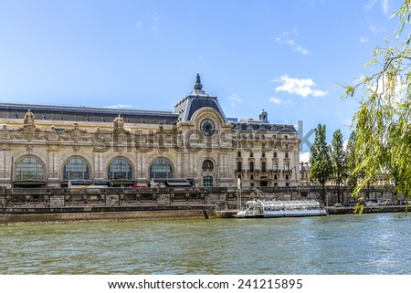 View of D'Orsay Museum. D'Orsay - a museum on left bank of Seine, it is housed in former Gare d'Orsay. D'Orsay holds mainly French art dating from 1848 to 1915. Paris, France. - stock photo