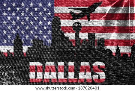 View of Dallas City on the American flag on the jeans texture - stock photo