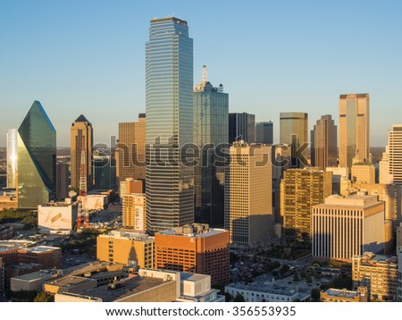 View of Dallas downtown from observation deck on Reunion tower - stock photo
