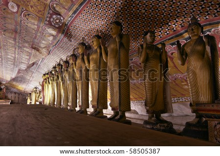view of Dambulla - Cave temple - Sri Lanka - stock photo