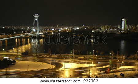 View of Danube River passing through Bratislava, Slovakia - stock photo