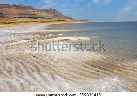 View of Dead Sea coastline - stock photo