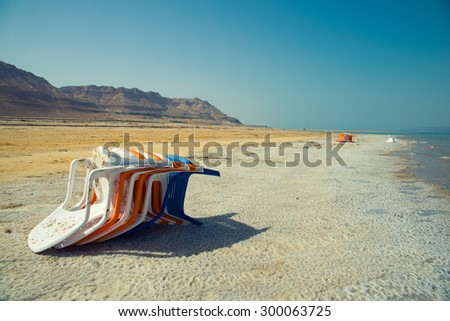 View of Dead Sea coastline and chair