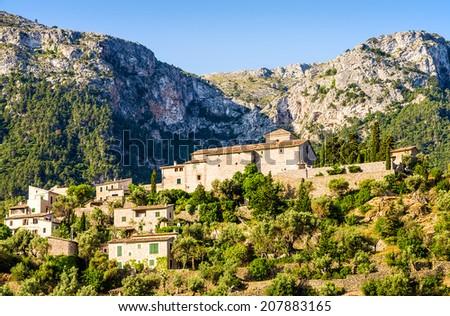 View of Deia on Mallorca - stock photo
