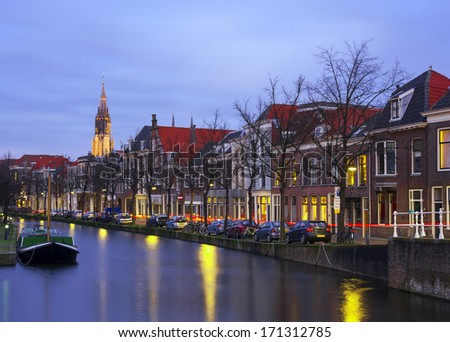 View of Delft's old city centre
