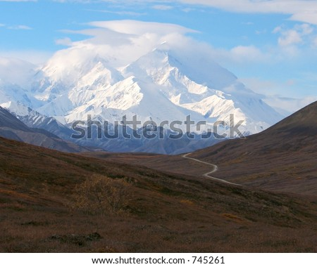 View of Denali/Mt. McKinley with the park road in the foreground
