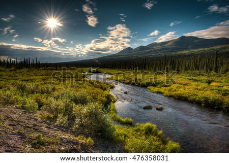 View of Denali National Park in Alaska on a nice summer day with the sun shining