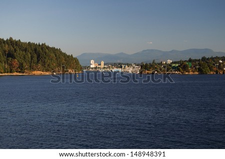 View of Departure Bay and Nanaimo harbor on Vancouver Island, BC - stock photo