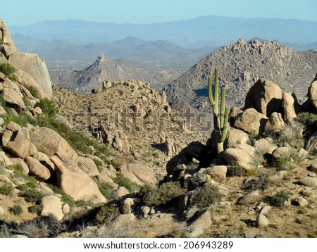 View of desert mountain ranges - stock photo