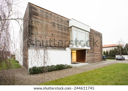 View of designed house in the suburbs - stock photo