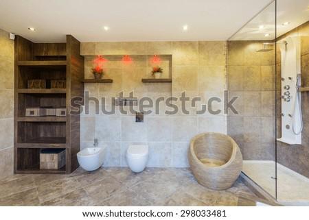 View of designer bathroom in modern apartment - stock photo