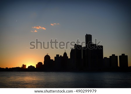 View of Detroit city skyline at sunset from Windsor, Ontario