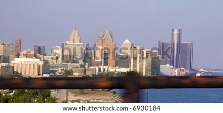 view of Detroit from Ambassador bridge connecting the United States and Canada - stock photo