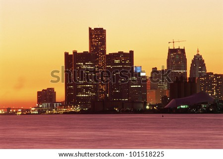 View of Detroit, Michigan skyline at sunset - stock photo