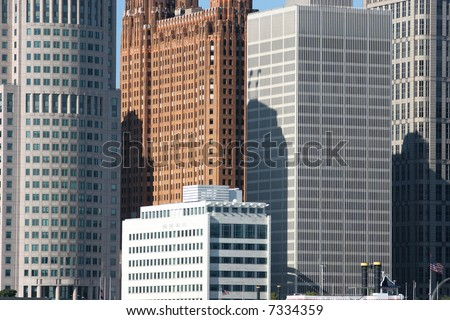 view of Detroit skyline from Windsor, Ontario - stock photo