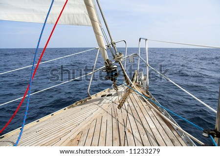 view of different parts of yacht - stock photo