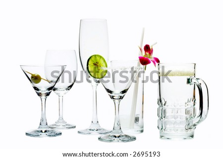 view of different size glasses ready to be filled up