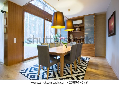 View of dining area inside modern house - stock photo